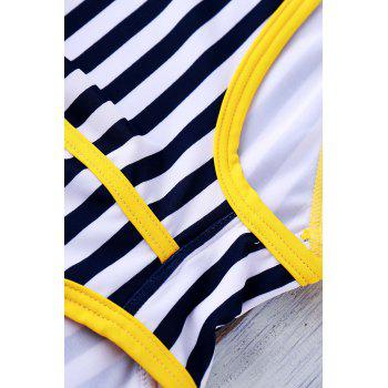 Lace Up Sexy Stripe Color Block Sports Style Men's Swimming Trunks - YELLOW M
