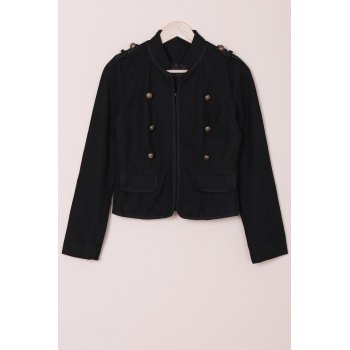 Fashionable Women's Stand Collar Long Sleeves Buttoned Worsted Jacket