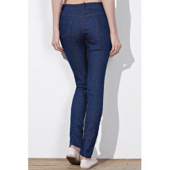 Stylish Mid-Waisted Slimming Ripped Frayed Women's Jeans - M M
