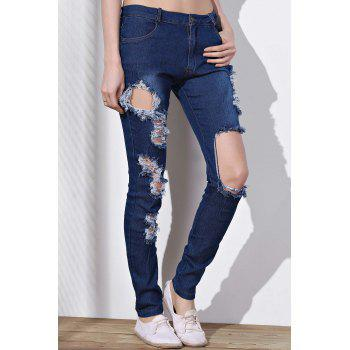 Stylish Mid-Waisted Slimming Ripped Frayed Women's Jeans - BLUE M