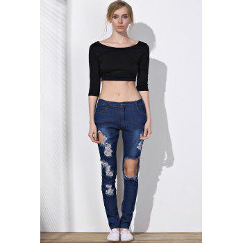 Stylish Mid-Waisted Slimming Ripped Frayed Women's Jeans - BLUE L