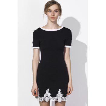 Endearing Lace Spliced Hem Jewel Neck Short Sleeve Dress For Women