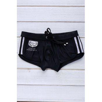 Color Block Logo Pattern Design Lace-Up Men's Boxer Swimming Trunks - BLACK BLACK