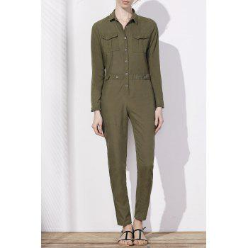Stylish Women's Shirt Collar Long Sleeves Single-Breasted Jumpsuit