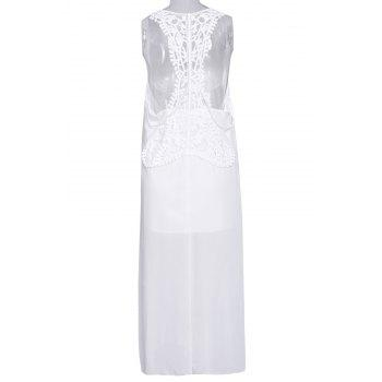Stylish Scoop Neck Sleeveless Furcal Hollow Out Women's Dress - WHITE L