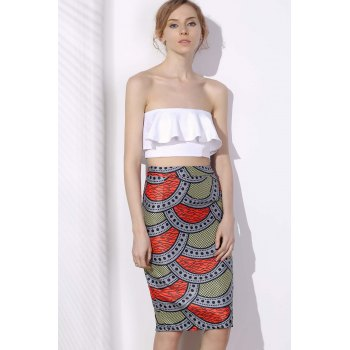 Stylish High-Waisted Bodycon Printed Women's Skirt - XL XL