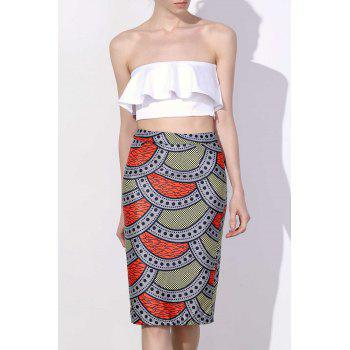 Stylish High-Waisted Bodycon Printed Women's Skirt - COLORMIX COLORMIX
