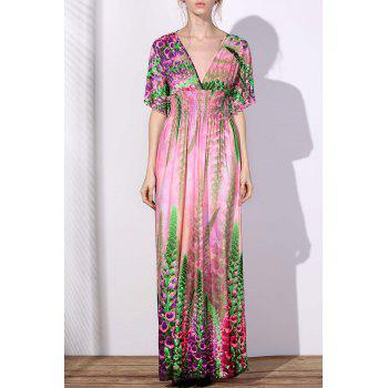 Bohemian V-Neck Floral Print Plus Size Short Sleeve Women's Maxi Dress