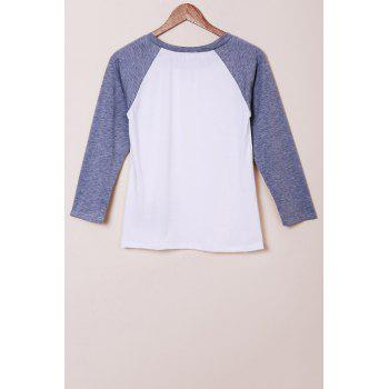 Stylish Jewel Neck Long Sleeve Embroidered Spliced Women's T-Shirt - GREY/WHITE M