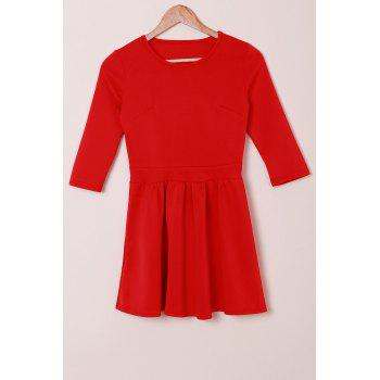 Refreshing Jewel Neck 3/4 Sleeve Solid Color High Waist Pleated Mini Dress For Women