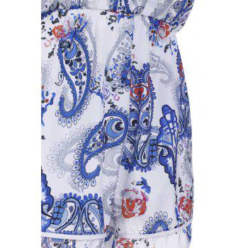 Chic Women's Spaghetti Strap Paisley Backless Romper - BLUE S