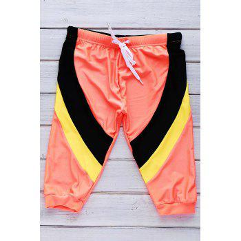 Lace Up Color Block Five Pants Men's Swimming Trunks - ORANGE ORANGE