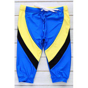 Lace Up Color Block Five Pants Men's Swimming Trunks - BLUE M