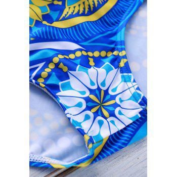 Sports Style Printed Color Block Sexy Men's Swimming Trunks - AZURE AZURE
