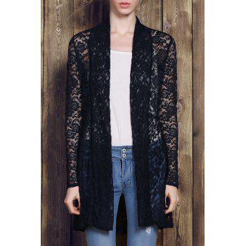 Lace Embroidered Plus Size Cardigan