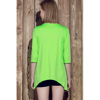 Stylish Round Collar 3/4 Sleeve Asymmetrical Pure Color Women's T-Shirt - NEON GREEN M