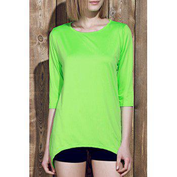 Stylish Round Collar 3/4 Sleeve Asymmetrical Pure Color Women's T-Shirt