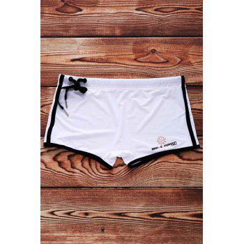 Lace Up Sexy Solid Color Sports Style Men's Swimming Trunks - WHITE S