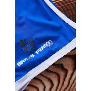 Lace Up Sexy Solid Color Sports Style Men's Swimming Trunks - BLUE BLUE