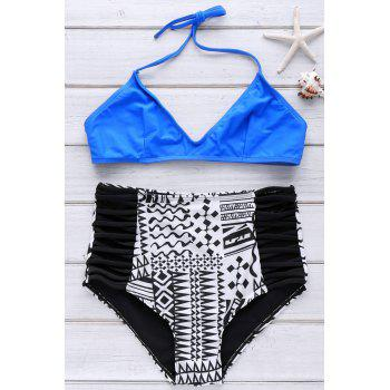 Stylish Spaghetti Strap High Waist Printed Women's Bikini Set - DEEP BLUE S