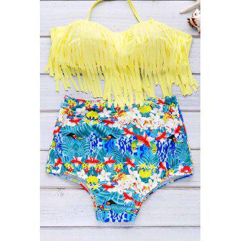 Print High Waist Bikini With Fringe Top