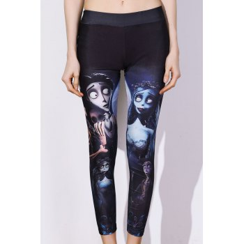 Chic Elastic Waist Printed Slimming Women's Pants