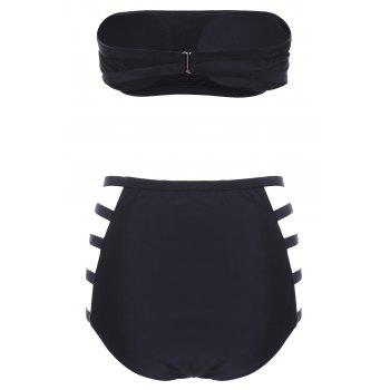 Sexy Strapless High-Waisted Cut Out Solid Color Women's Bikini Set - BLACK L