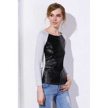 Stylish Jewel Neck Long Sleeve Color Block PU Spliced Women's T-Shirt - GRAY S