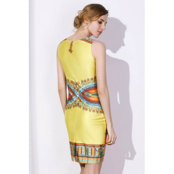 Ethnic Style Women's Jewel Neck Sleeveless Tribal Print Bodycon Dress - YELLOW M