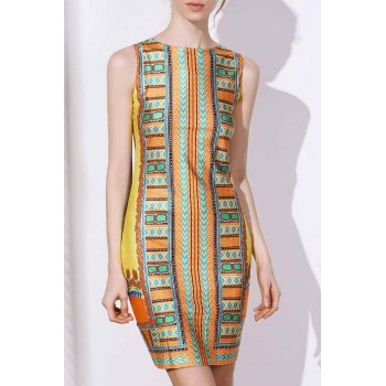 Ethnic Style Women's Jewel Neck Sleeveless Tribal Print Bodycon Dress
