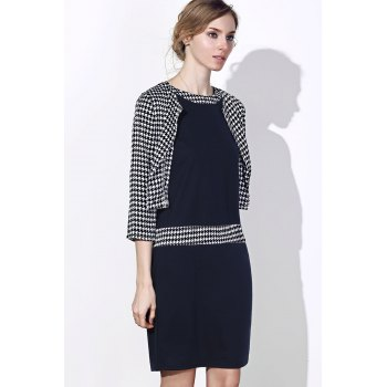 Sext Polka Dot Print Color Block Bodycon Dress and Jacket Twinset For Women - WHITE/BLACK 4XL