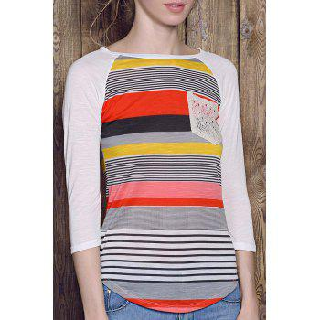 Casual Striped Lace Spliced 3/4 Sleeve Irregular T-Shirt For Women