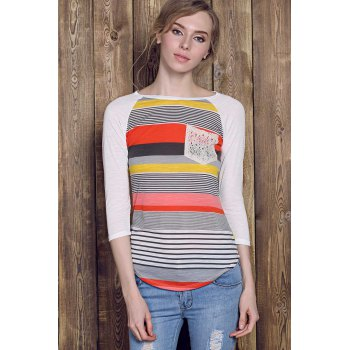 Casual Striped Lace Spliced 3/4 Sleeve Irregular T-Shirt For Women - RED XL