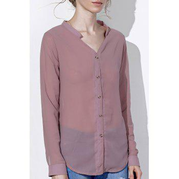 Chic Long Sleeve V Neck Pure Color Chiffon Women's Shirt