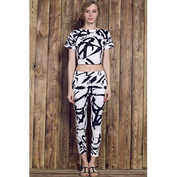 Trendy Short Sleeve Round Neck Printed Crop Top + High-Waisted Pants Women's Twinset - WHITE M