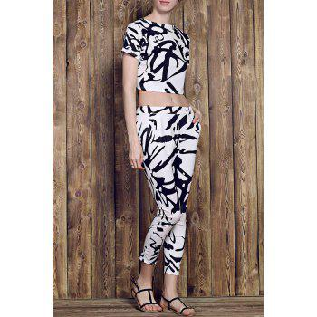 Trendy Short Sleeve Round Neck Printed Crop Top + High-Waisted Pants Women's Twinset
