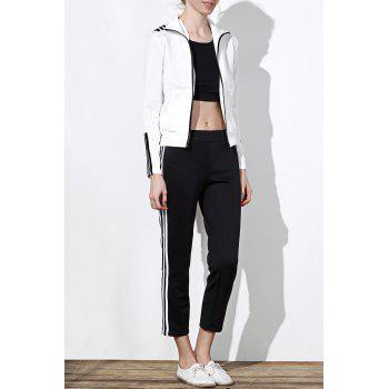 Active Long Sleeve Stand-Up Collar Striped Jacket + Mid-Waisted Pants Women's Twinset - WHITE AND BLACK L