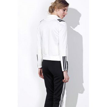 Active Long Sleeve Stand-Up Collar Striped Jacket + Mid-Waisted Pants Women's Twinset - WHITE/BLACK L
