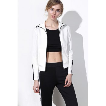 Active Long Sleeve Stand-Up Collar Striped Jacket + Mid-Waisted Pants Women's Twinset - L L