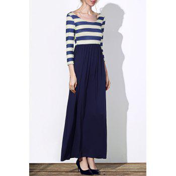Trendy 3/4 Sleeve Scoop Neck Striped Women's Maxi Dress