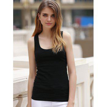 See-Thru Lace Racerback Tank Top - BLACK M