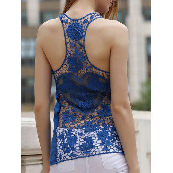 Chic Solid Color Back Cut Out Lace Spliced Racerback Tank Top For Women