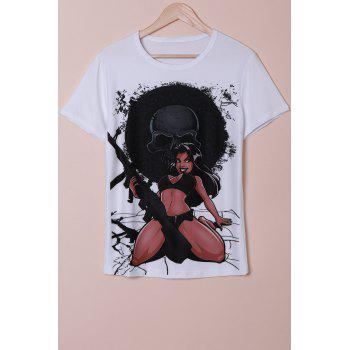 3D Bikini Girl and Skull Print Round Neck Short Sleeve Men's T-Shirt