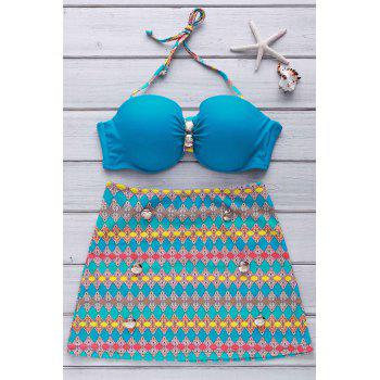 Stylish Women's Halter Button Embellished Colorful Printed Three-Piece Swimsuit