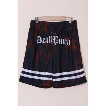 Stylish Straight Leg Breathable Letters Pattern Drawstring Men's Board Shorts - COLORMIX M