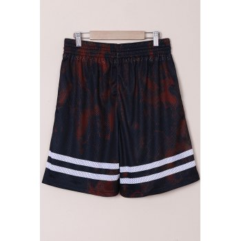 Stylish Straight Leg Breathable Letters Pattern Drawstring Men's Board Shorts - M M