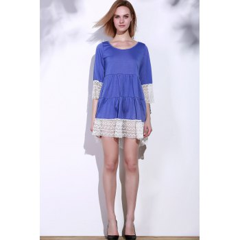 Casual 3/4 Sleeve U-Neck Loose-Fitting Lace Splicing Women's Dress - S S