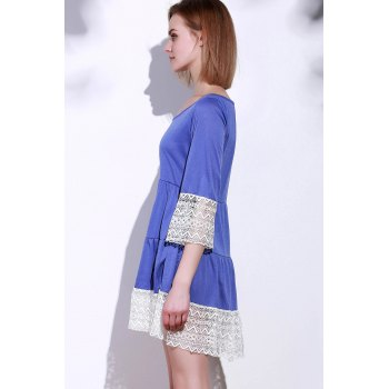 Casual 3/4 Sleeve U-Neck Loose-Fitting Lace Splicing Women's Dress - XL XL