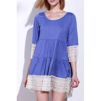 Casual 3/4 Sleeve U-Neck Loose-Fitting Lace Splicing Women's Dress - PURPLE XL