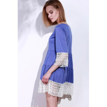 Casual 3/4 Sleeve U-Neck Loose-Fitting Lace Splicing Women's Dress - PURPLE PURPLE
